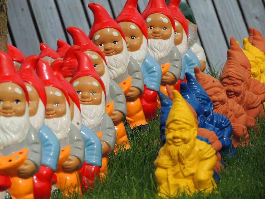 Gartenzwerge treten oft in großen Gruppen auf