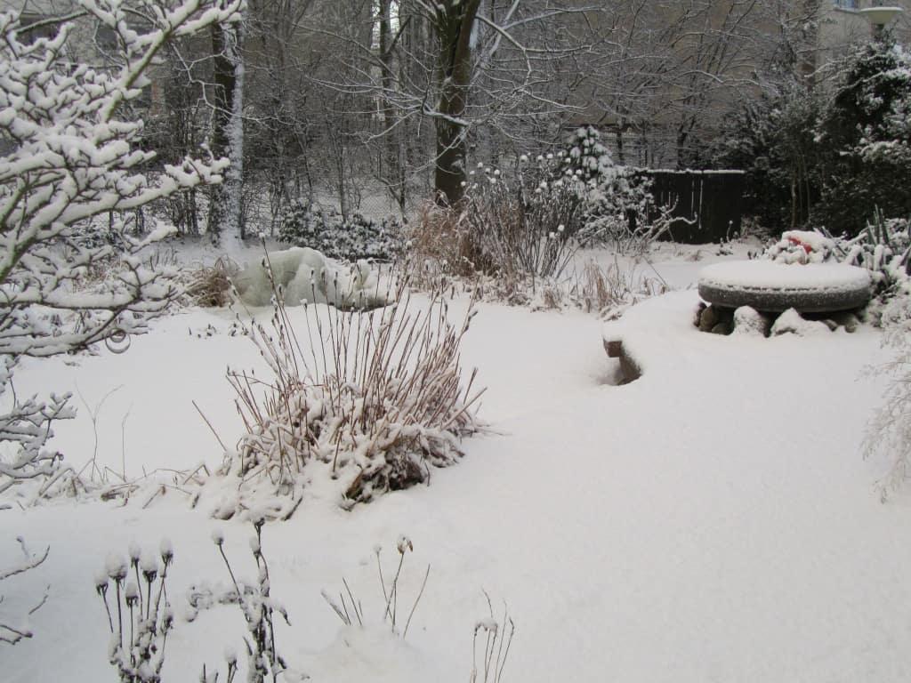 Eine winterliche Gartenlandschaft