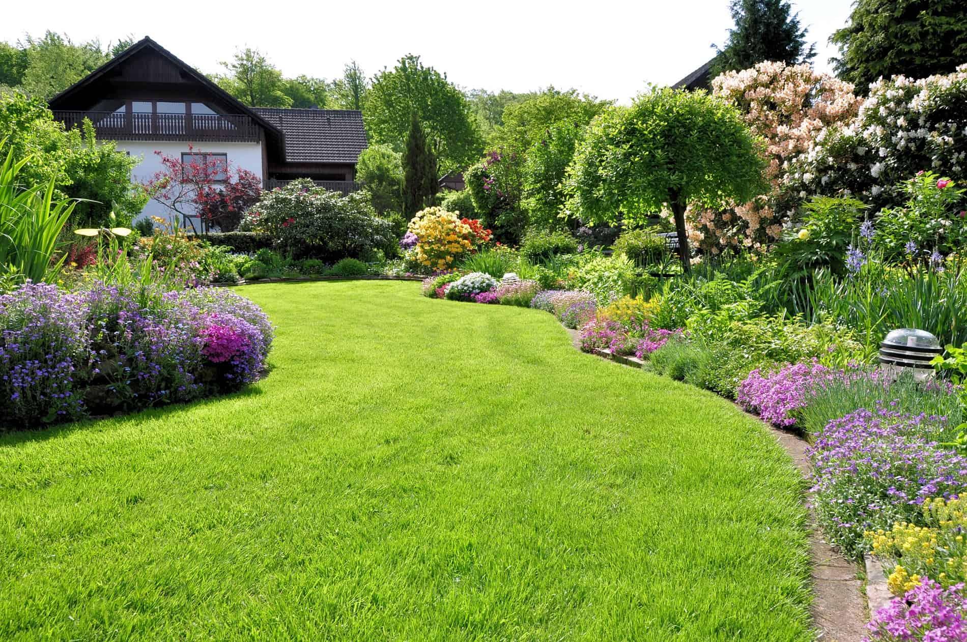 Ein schöner Garten mit Rasen und Beeten