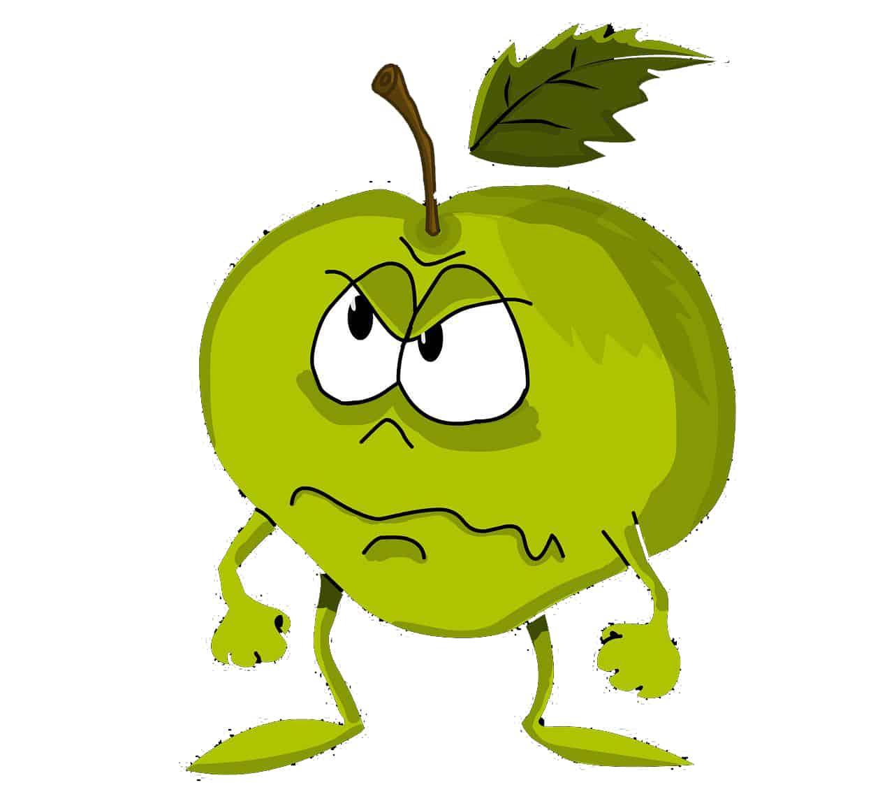 Grüner, grimmiger Apfel